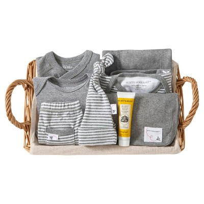 Burt's Bees Baby Organic Take Me Home Striped Gift Basket - Heather Gray 6-9 M