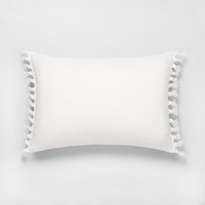 14x20 Knotted Fringe Throw Pillow Sour Cream - Hearth & Hand™ with Magnolia
