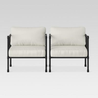 Fernhill 2pk Metal Patio Club Chair - Linen - Threshold™