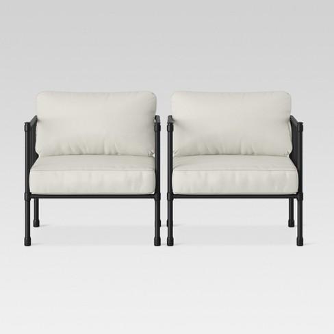 Fernhill 2pk Metal Patio Club Chair Linen Threshold Target