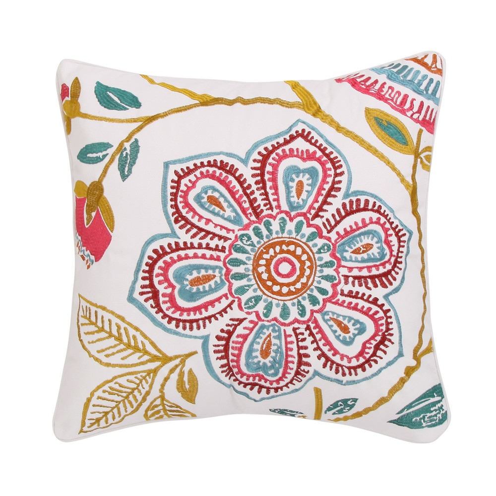 Image of 20x20 Saskia Flower Pillow Red - Mudhut