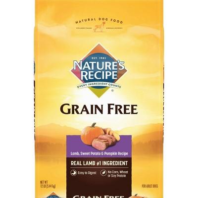 Nature's Recipe Grain Free Lamb, Sweet Potato & Pumpkin Recipe Adult Dry Dog Food - 12lbs