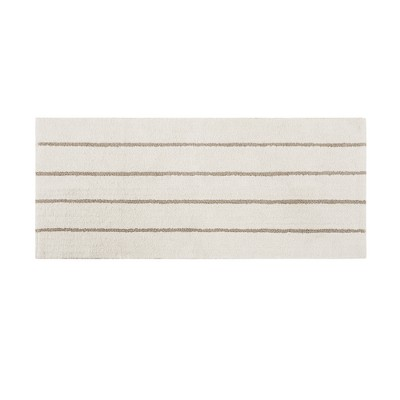 Darien Cotton Tufted Stripe Bath Rug Ivory/Khaki (24x60 )
