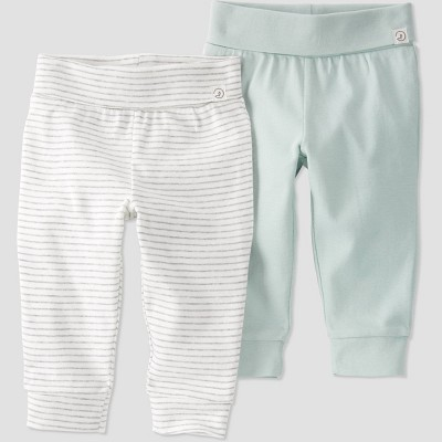 Baby Girls' 2pk Organic Cotton Pull-On Pants - little planet by carter's Gray