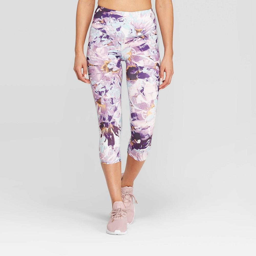 Women's Floral Print Everyday High-Waisted Capri Leggings 20 - C9 Champion White XL