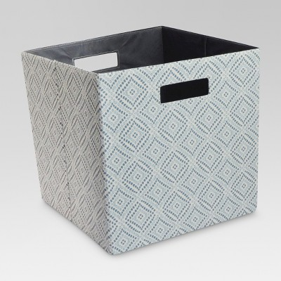 "13"" Fabric Cube Storage Bin Blue Diamond - Threshold™"