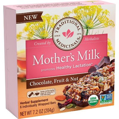Traditional Medicinals Mother's Milk Chocolate, Fruit, & Nut Bars - 6ct
