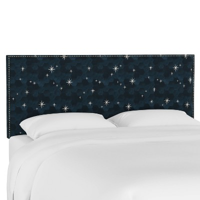 King Nail Button Border Headboard Starlit Blue - Skyline Furniture