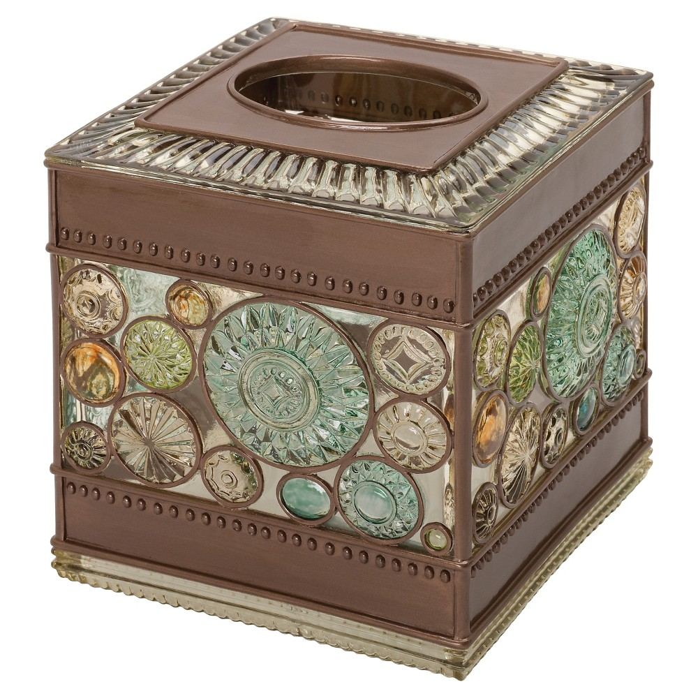 Image of Boddington Resin Artisan Tissue Box Cover Bronze - India Ink, Yellow