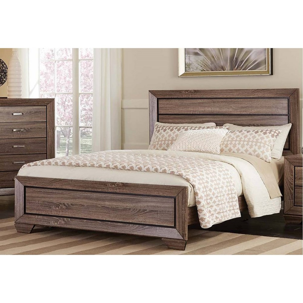 Eastern King Cuboid Panel Bed Washed Taupe - Private Reserve, Brown