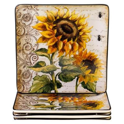 "10.5"" 4pk Ceramic Square French Sunflowers Dinner Plates - Certified International"