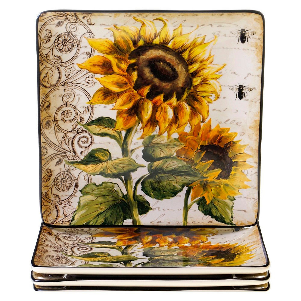 """Image of """"10.5"""""""" 4pk Ceramic Square French Sunflowers Dinner Plates - Certified International"""""""