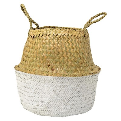 """Seagrass Basket with Handles 12.5 x 14"""" Natural/White - 3R Studios"""
