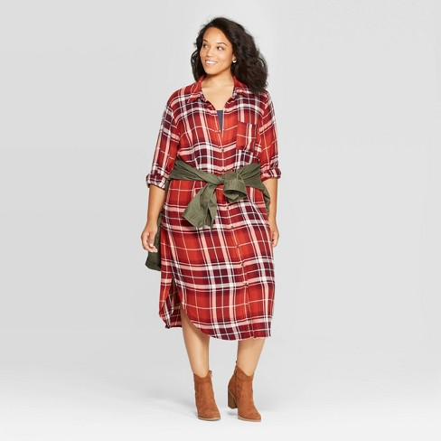 Women\'s Plus Size Plaid Long Sleeve V-Neck Button-Down Midi T-Shirt Dress -  Universal Thread™ Red
