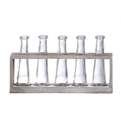 Vase Holder with 5 Glass Vases (12.5 x4.5 )- 3R Studios