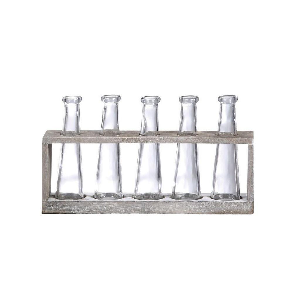 Vase Holder with 5 Glass Vases (12.5