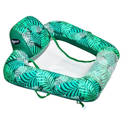 Aqua Zero Gravity Inflatable Outdoor Indoor Swimming Pool Chair Hammock Lounge Float, Teal Fern Leaf Green
