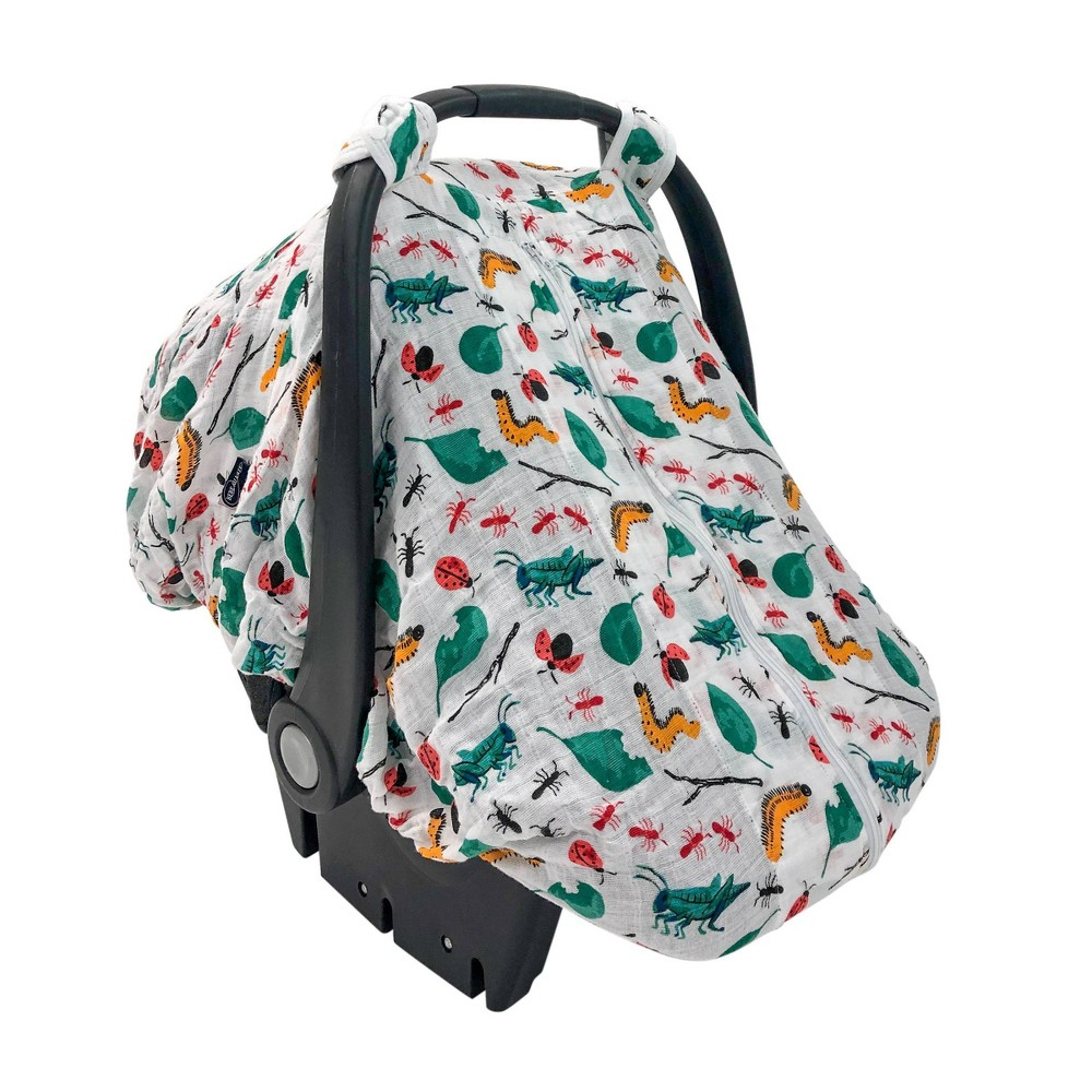 Image of Bebe au Lait Muslin Car Seat Cover - Bug