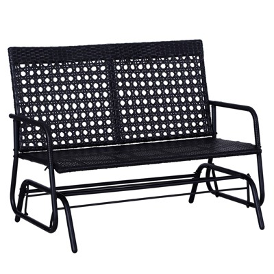 """Outsunny 47"""" Outdoor Rattan Wicker Glider Bench"""