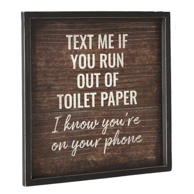 "Lakeside Humorous Bathroom Sign - ""Text Me if You Run Out of Paper"" with Rustic Finish"