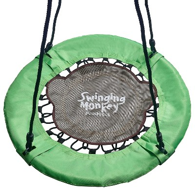 Swinging Monkey Giant 30 Inch Diameter 400 Pound Weight Capacity Weatherproof Outdoor Bungee Tree Saucer Swing, Green