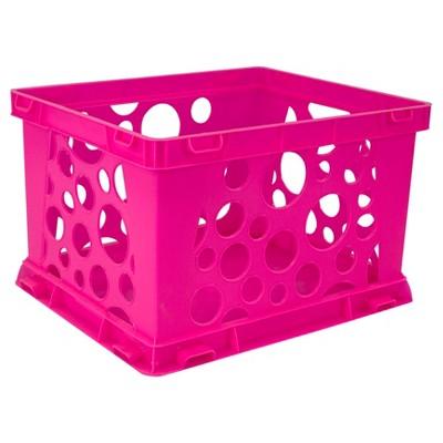 Storex Mini Stackable Storage Crate 3ct - Neon Pink