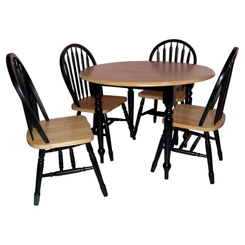 5 Piece Double Drop Leaf Dining Set Wood - Natural/Black - TMS - image 1 of 3