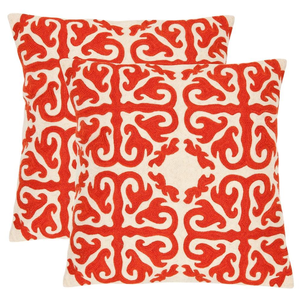 Top 2pk 22x22 Oversize Moroccan Square Throw Pillows Orange - Safavieh