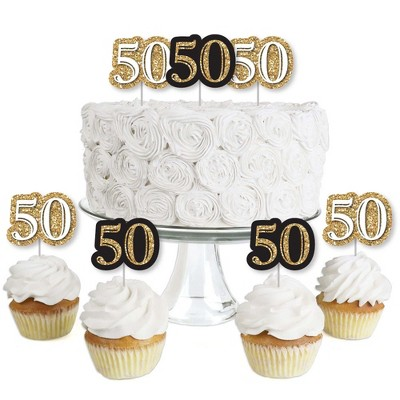Big Dot of Happiness Adult 50th Birthday - Gold - Dessert Cupcake Toppers - Birthday Party Clear Treat Picks - Set of 24