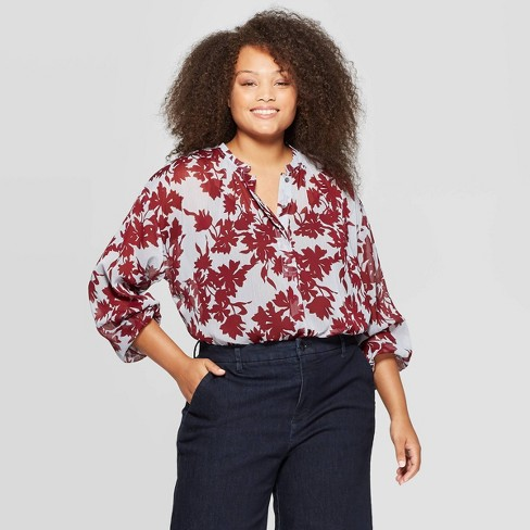 Women's Plus Size Long Sleeve V-Neck Top - A New Day™ Blue/Burgundy - image 1 of 3