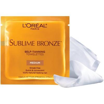 L'Oreal Paris Sublime Bronze Self-Tanning Towelettes Medium Natural Tan -6ct