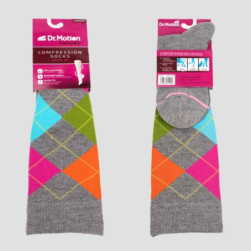 8135da5a6 Dr. Motion Women s Mild Compression Knee High Socks - Gray Argyle 4-10    Target