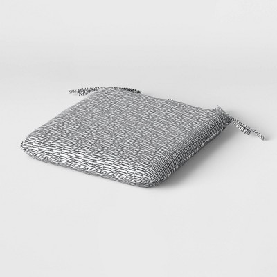 "18"" x 17.5"" Outdoor Woven Cushion Seat Pad DuraSeason Fabric™ Gray and White Geo - Project 62™"