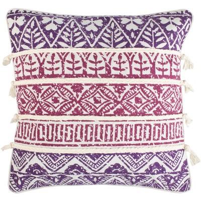 "Mela Pillow - Purple/Beige - 18"" X 18"" - Safavieh"