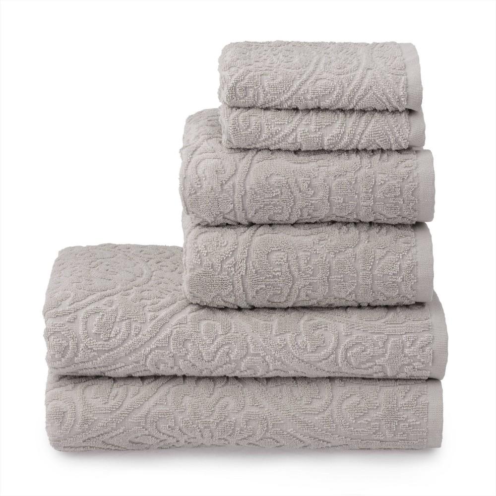 6pc Cameron Sculpted Bath Towel Set Brown Martha Stewart