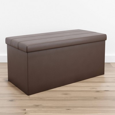 Foldable Rectangle Storage Ottoman with Channel Tufting - Brookside Home