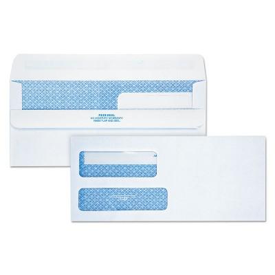 Quality Park Redi-Seal Envelope Security #9 Double Window Contemporary White 250/Carton 24519