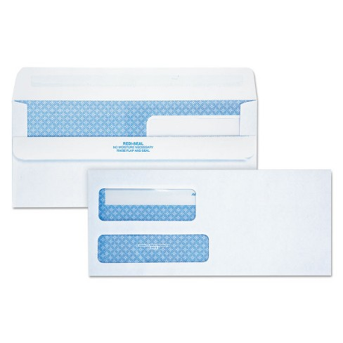 Quality Park Redi-Seal Envelope Security #9 Double Window Contemporary White 250/Carton 24519 - image 1 of 3