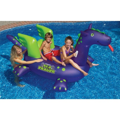 "Swim Central 89"" Water Sports Inflatable Sea Dragon Swimming Pool Ride-On 2-Person Float Toy - Purple/Green - image 1 of 1"