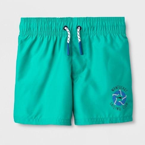 Baby Boys' Swim Trunks - Cat & Jack™ Turquoise 12M - image 1 of 1