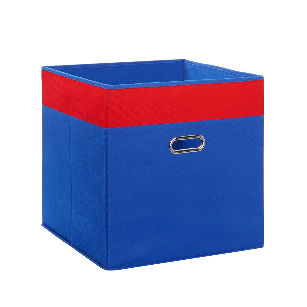 RiverRidge 16x16 Jumbo Floor Folding Toy Storage Bin - Blue with Red
