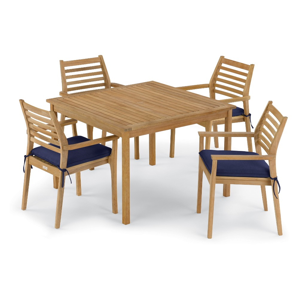 Classic 5pc 42Square Dining Table & Mera Stacking Armchair Set Navy Blue - Oxford Garden
