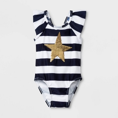 Baby Girls' Stripe One Piece Swimsuit - Cat & Jack™ Navy 12M