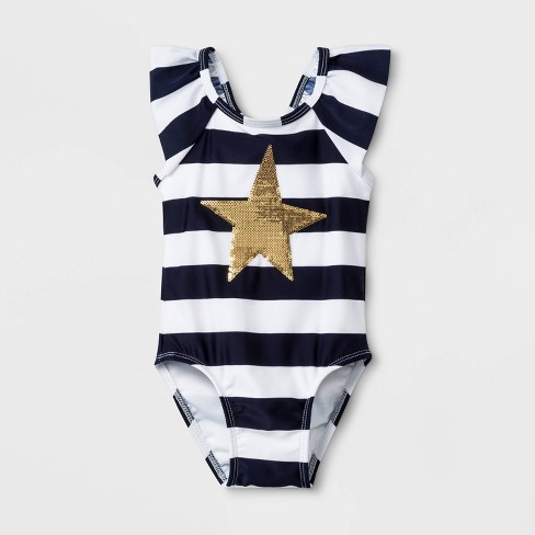Baby Girls' Stripe One Piece Swimsuit - Cat & Jack™ Navy - image 1 of 2