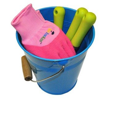 Kids Water Pail With Garden Tools Set And Gloves   Blue   Justforkids :  Target