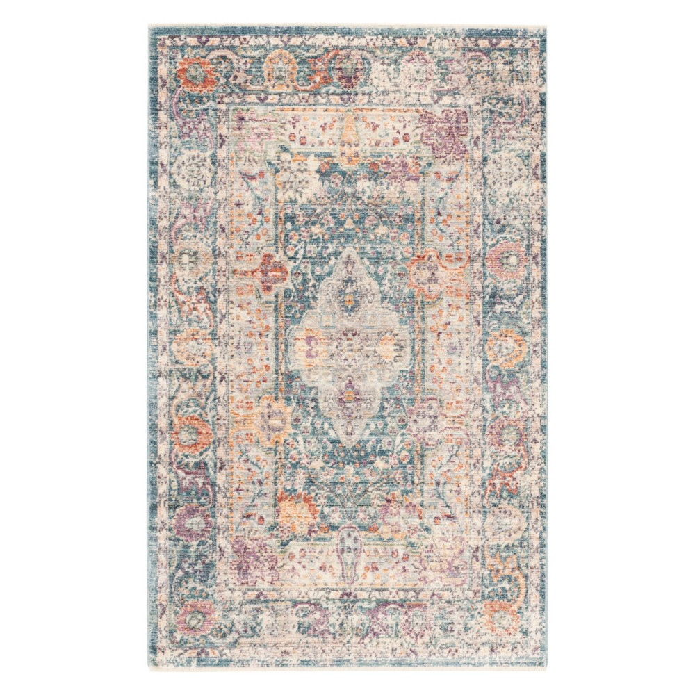Teal Cream Floral Loomed Accent Rug 3 X5 Safavieh