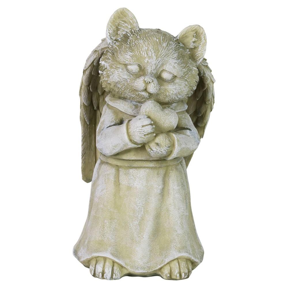 10 43 34 Resin Cat Angel Garden Statue Gray Exhart