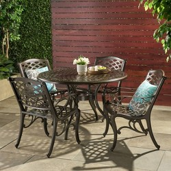 Hallandale Sarasota 5pc Cast Aluminum Patio Dining Set - Bronze - Christopher Knight Home