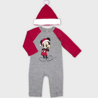 Baby Boys' 2pc Mickey Mouse & Friends Mickey Mouse Romper and Hat Set - Gray 3-6M