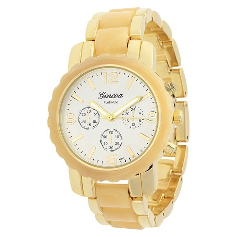 Women's Geneva Platinum Two-Tone Link Watch - image 1 of 3